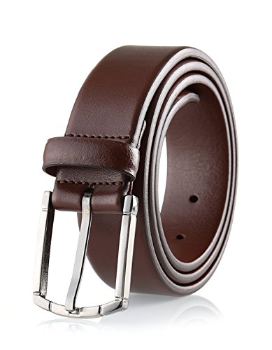 Savile Row Men's 100% Leather Classic Dress Belt Brown (Size 40) (Brown Embossed Leather Belt)