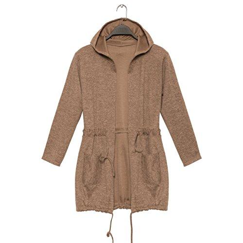 Miss Wear Line Gilet taupe très fashion avec capuche et lacet a la taille et en bas