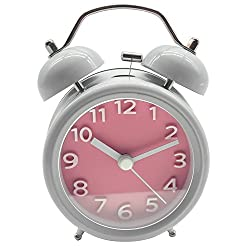 Innolife 3 Quiet Non-ticking Silent Quartz Analog Retro Vintage bedside Twin Bell Alarm Clock With Loud Alarm and Nightlight (3D Number Pink)
