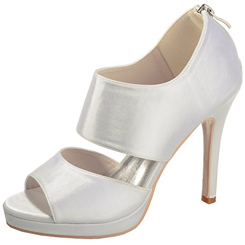 LOSLANDIFEN Womens Peep Toe Satin Wide Ankle Strap Hidden Platform High Heels Wedding Bridal Shoes Ivory