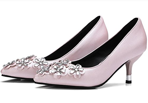 YCMDM Donne con tacco alto a forma di fiore piccole Codice grande Scarpe basse della bocca scarpe da appuntamento Scarpe di Charme Scarpe da Corte , pink , 39
