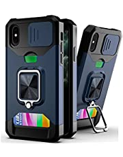 ESONG Hoesjes voor iPhone 13 PRO MAX met kaartsleuf, magnetische autohouder,Lensbeschermer Stootrand,Siliconen Shockproof Beschermende Cover Met Ring Stand-blauw