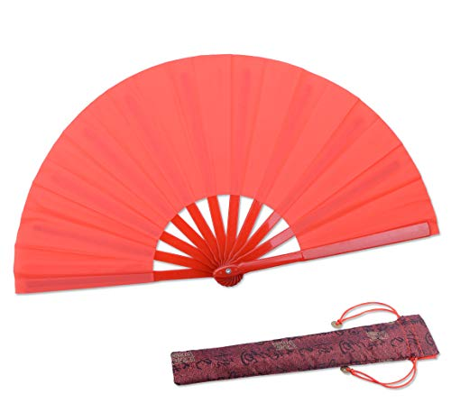 Dance Folding Hand Fan-Red Small Chinese Kung Fu Tai Chi Plastic-Nylon Hand Held Folding Fans for Men/Women/Children With a Fabric Case for Protection 11.8inch (Red) by HONSHEN