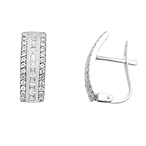 Boucled'oreille 18k or blanc centre zircone cubique voie [AB2135]