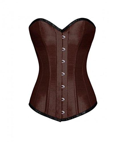 妖精高い請負業者Brown Satin Gothic Burlesque Waist Cincher Bustier LONG Overbust Corset Costume