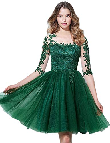 YIRENWANSHA Sexy Plus Size Homecoming Dresses 2018 Evening Dresses Long Sleeves Formal Ball Gown Empire Waist Appliqued Tulle Illusion Short Prom Gown YW83 Emerald Size 24W
