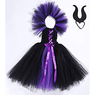 Tutu Dreams Halloween Vampire Witch Costume for Girls 1-12Y with Horns Headband: Clothing