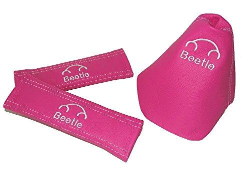 For Volkswagen New Beetle Volkswagen Beetle Shift Boot & Seat Belt Covers Pink Leather