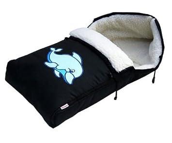 Babylux Fußsack Lammwolle 90cm Winterfußsack Kinderwagenfußsack Mit Motiv Schwarz 3 Delfin Baby