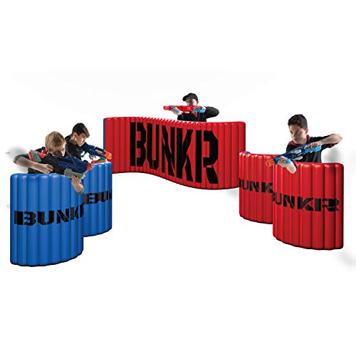 BUNKR Inflatable Battlezone Tournament Set (5 Piece), Red Blue. (Compatible with Nerf, Laser X, X-Shot and Boomco)