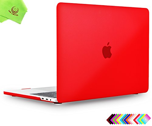 MacBook Pro 13 inch Case 2018 2017 2016, UESWILL Smooth Matte Hard Case for MacBook Pro 13-inch, 2/4 Thunderbolt 3 Ports (USB-C), with/Without Touch Bar, Model A1989/A1706/A1708, Red