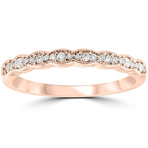 (1/5 cttw Diamond Stackable Womens Wedding Ring 14k Rose Gold - Size 7)
