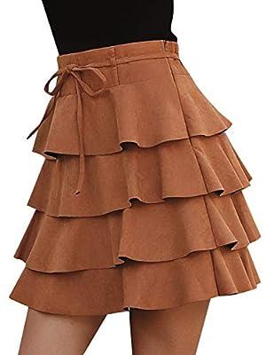 Simplee Women's Elegant Ruffle High Waist Bodycon Short Plain A-line Mini Skirt