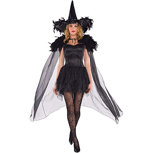 AMSCAN Feather Witch Cape Halloween Costume Accessories for Women, One Size, Black -