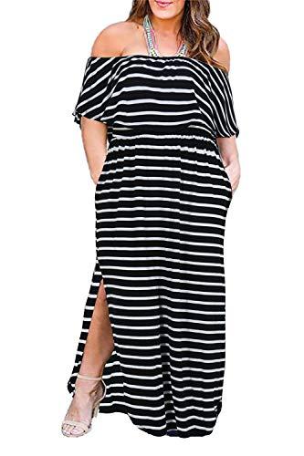 Nemidor Women's Upper Flounce Layer Off Shoulder Plus Size Slit Maxi Dress NEM200(White Stripe, 16W)]()