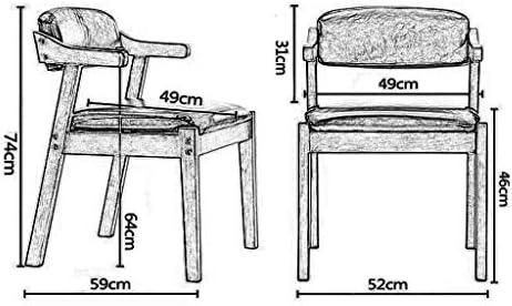 WY Chaise de salle à manger en bois massif avec corde de chanvre confortable Accoudoirs Siège rembourré rembourré et dossier for la cuisine - Brown Faux cuir Fauteuil Vintage