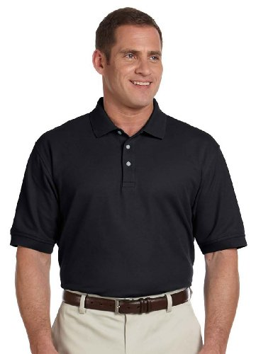 Sleeve Pima Pique Polo - Devon & Jones Men's Tall Pima Piqué Short-Sleeve Polo 3XT Black