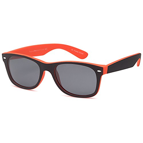 GAMMA RAY CHEATERS Best Value Polarized UV400 Wayfarer Style Sunglasses with Mirror Lens and Multi Pack Options Adult - Gray Lens on Matte Orange Frame