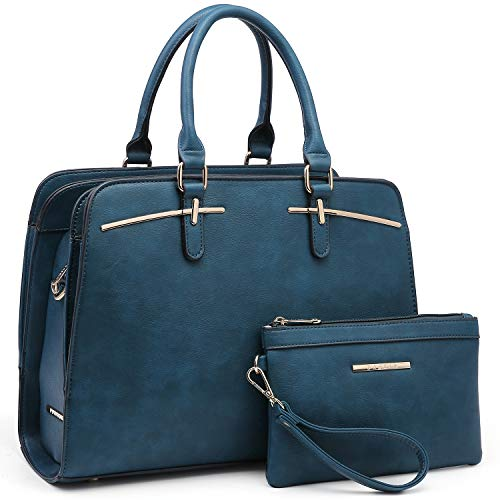 Women Handbags Satchel Purses Top Handle Work Bag Briefcases Tote Bag With Matching Wallet (3-Dark Teal Blue)