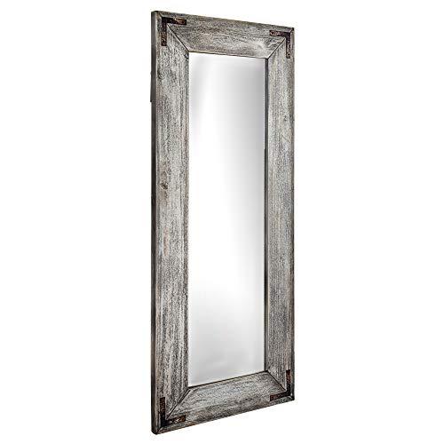 (Crystal Art Farmhouse Rustic Distressed Wood Freestanding or Hanging Wall Vanity Mirror, 24