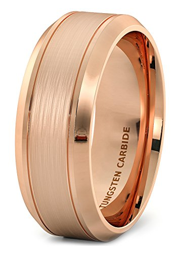 Duke Collections Rose Gold 8mm Tungsten Ring Wire Brushed Double Groove Beveled Edge Comfort Fit (Rose Box Collection)