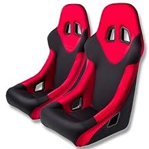 Pair of Tuner Series Black Adjustable Sport Bucket Racing Seats With Red Trim