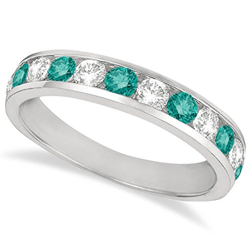 (White and Fancy Blue Diamond Ring Channel-Set 14k White Gold (1.05ct))