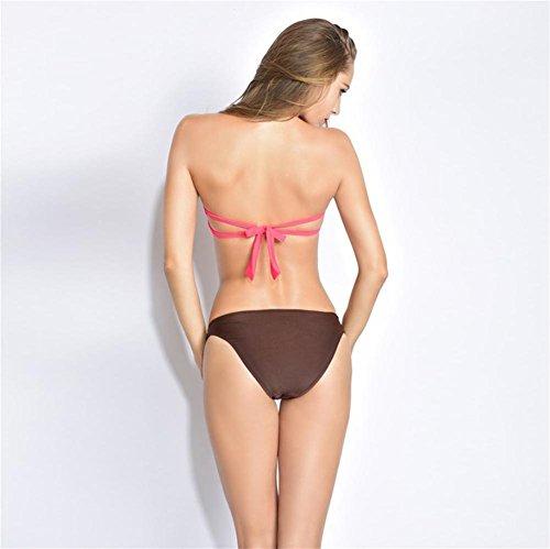 SHISHANG Sra. Bikini traje de baño de dos piezas traje de baño de resorte caliente Europa y los Estados Unidos nueva moda respetuosa del medio ambiente de alta elasticidad Pink