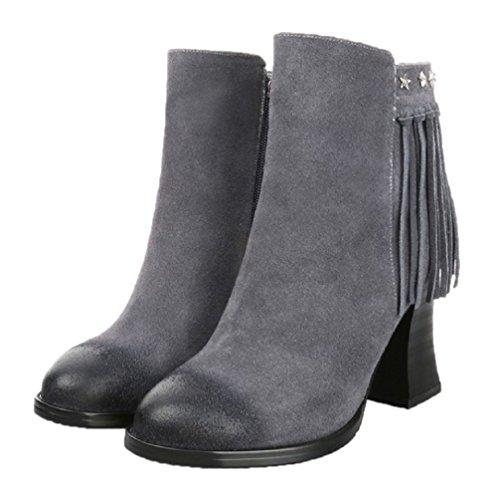 HooH Women's Nubuck Tassel Boots Star Rivet High Heel Boots Grey qzMjbfIeKx