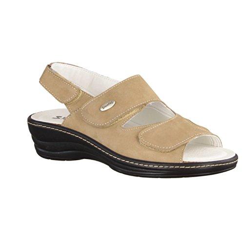 Slowlies 155 - Zapatos mujer Sandalia cómodo / relleno suelto, Beige, cuero (nubuc)