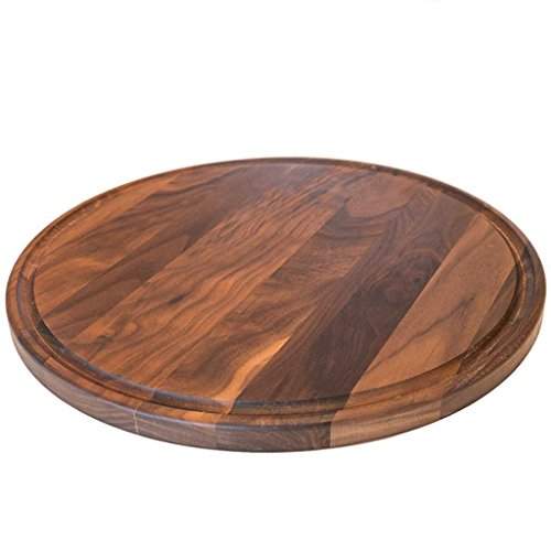 Round Wood Cutting Board by Virginia Boys Kitchens - 13.5 Inch American Walnut Cheese Serving Tray and Charcuterie Platter with Juice Drip Groove (Serving Platter Brown)