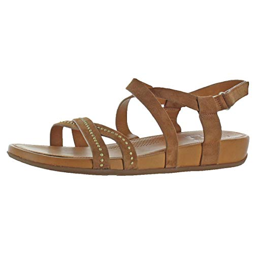 Suede Criss Cross - FitFlop Womens Lumy Criss Cross Suede with Studs Sandal Shoes, Tan, US 10