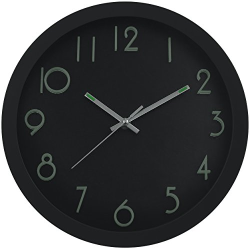 Large Non-Ticking Wall Clock - Indoor/Outdoor - Silent Modern Quartz Design - Decorative 12-Inch Black Clock - by Utopia Home