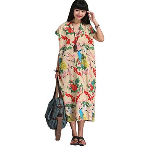 Aeneontrue Manches Courtes Femmes Robes Swing Empire Lin Coton Robe De Ligne De Taille Avec Des Poches Style1_apricot