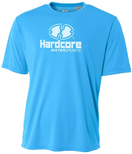 Hardcore Water Sports Mens Rash Guard Surf Swim Shirt SPF Protection Loose Fit Electric Blue by Hardcore Water Sports