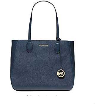 29f2c25118a1 MICHAEL Michael Kors Womens Mae Leather Reversible Tote Handbag Navy Large