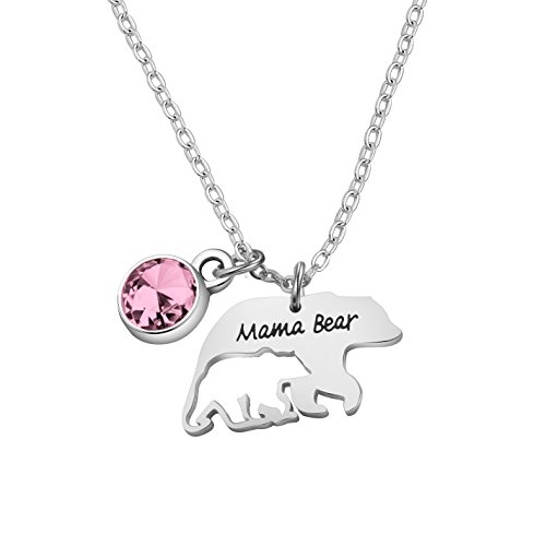 Mama Bear Necklace Mom Necklace Mama and Baby Bear Necklace with 12 Months  Birthstone Birthday Gift 0e2e2167d86c