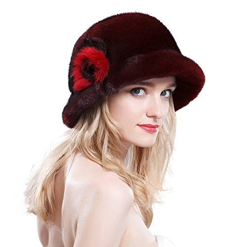 URSFUR Women's Velvet Mink Fur Cloche Hats Bucket Hats (SAGA Velvet Burgundy) by URSFUR