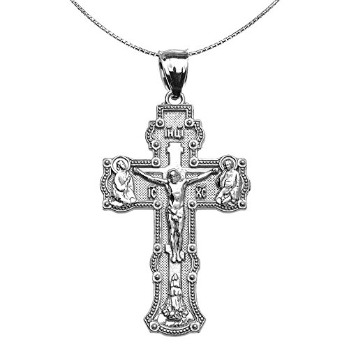 Gold Russian Jewelry (Elegant Russian Orthodox Save and Protect Cross Pendant Necklace in Sterling Silver 18