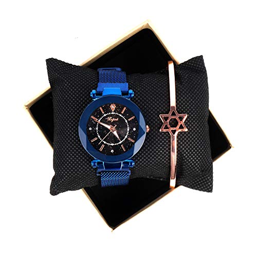 Women's Luminous Bling Bling Starry Sky Watch Magnetic Buckle Mesh Steel Watch Band with Bangle Set
