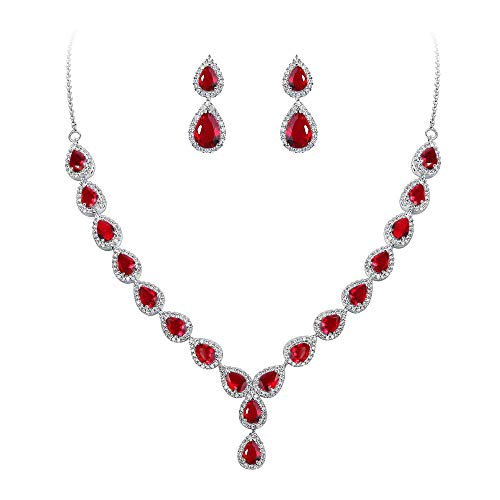BriLove Wedding Bridal CZ Necklace Earrings Jewelry Set for Women Teardrop Infinity Figure 8 Y-Necklace Dangle Earrings Set Ruby Color Silver-Tone July Birthstone