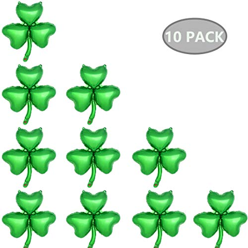Shamrock Balloons Set of 10, Green Clover Balloons St.Patrick's Day Irish Festival Decorations Kit Fit for Green Themed Party Supplies, 17.8 x 19.2 inch (Uninflated) ()