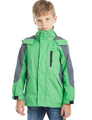 (BYCR Boys' Hooded Lightweight Windproof Rain Jacket Coat Kids Age 5-16 Years (130 (Size 6-7),)