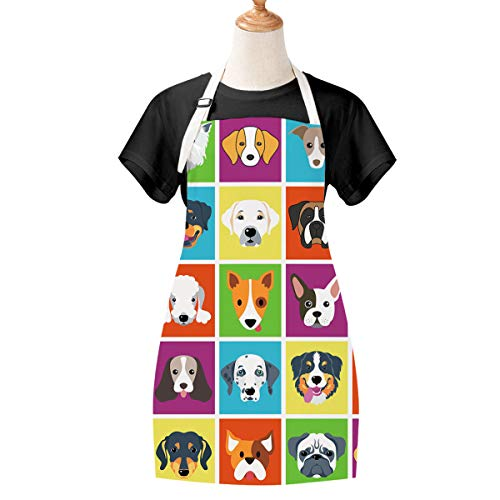 Sevenstars Dog Apron Cooking Apron Waterproof Adjustable Kitchen Apron Cartoon Dog Baking Apron for Women Men
