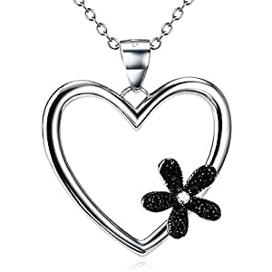"""Angel caller Women Charm Jewelry Gift S925 Sterling Silver Two-tone Love Heart Paw Necklace 18"""" (flower heart)"""