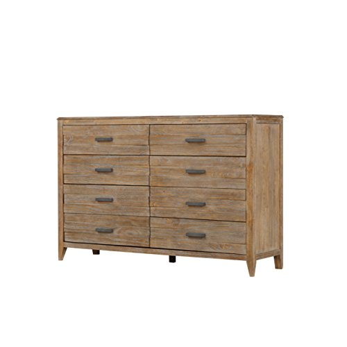 Emerald Home Torino Weathered Brown Dresser with Eight Drawers And Brushed Nickle Hardware ()