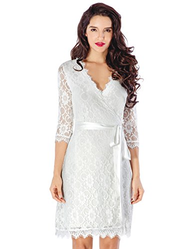 Grapent Women's White Lace 3/4 Sleeves Semi-Formal Mini Cocktail Wrap Dress US 6