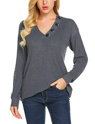 Yayado Women's V-Neck Long Sleeve Button Decorated Ribbed Knit Pullover Sweaters Jumpers ()
