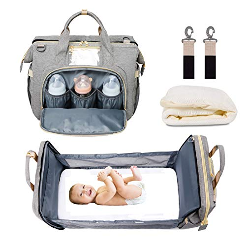 5 in 1 Baby Diaper Bag Backpack Travel Bassinet Foldable Baby Bed Multi-Purpose Portable Mummy Bag with Mattress Large…