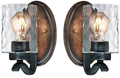 Westinghouse Barnwell One-Light Indoor Wall Fixture, Textured Iron and Barnwood Finish with Clear Hammered Glass, (1 Light 2 Pack)